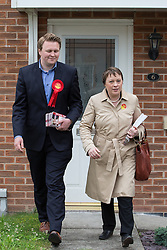 © Licensed to London News Pictures . 03/06/2014 . Newark , Nottinghamshire , UK . Labour candidate Michael Payne with Newark today (Tuesday 3rd June 2014) ahead of the by-election due to take place on Thursday (5th June 2014) . Photo credit : Joel Goodman/LNP