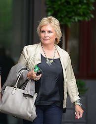 Writer of the Musical Jennifer Saunders leaves Viva Forever photocall at St Pancras Hotel in London, Tuesday June 26, 2012 .She also produced Mamma Mia! musical,Photo By Gavin Rodgers/i-Images