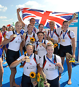Varese,  ITALY. 2012 FISA European Championships, Lake Varese Regatta Course. ..GBR W8+. Bow. Leonora KENNEDY, Claire MCKEOWN, Monica RELPH, Victoria MEYER-LAKER, Yasmin TREDWELL, Zoe LEE, Caragh MCMURTRY,  Olivia CARNEGIE-BROWN and Zoe DE TOLEDO   Bronze Medalist Women's Eights..14:18:21  Sunday  16/09/2012 .....[Mandatory Credit Peter Spurrier:  Intersport Images]  ..2012 European Rowing Championships Rowing, European,  2012 010889.jpg.....