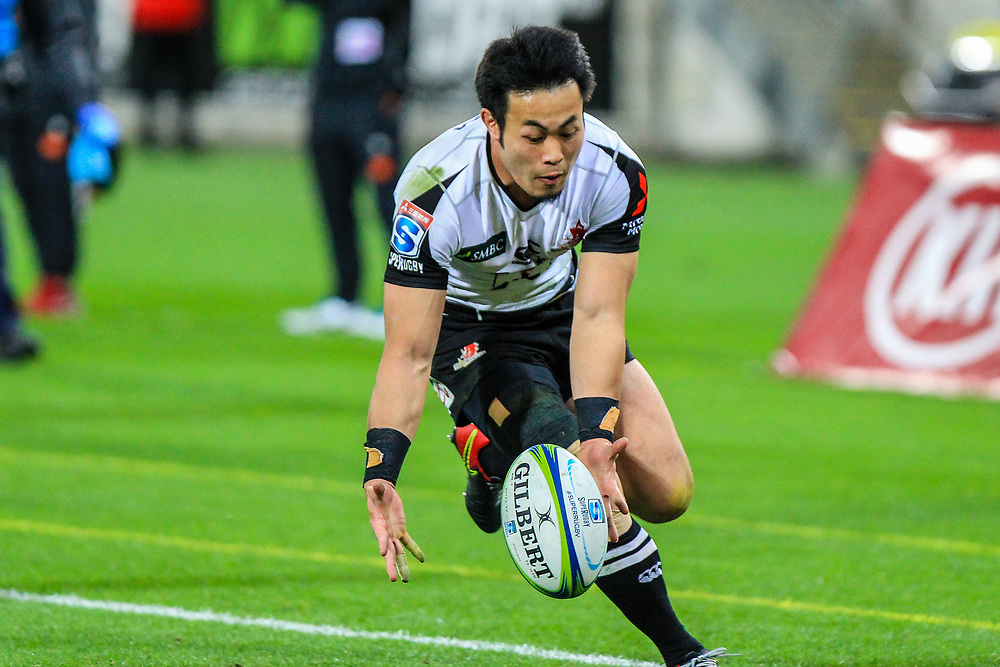 Kenki Fukuoka picks-up the ball during the Super Rugby union game between Hurricanes and Sunwolves, played at Westpac Stadium, Wellington, New Zealand on 27 April 2018.   Hurricanes won 43-15.