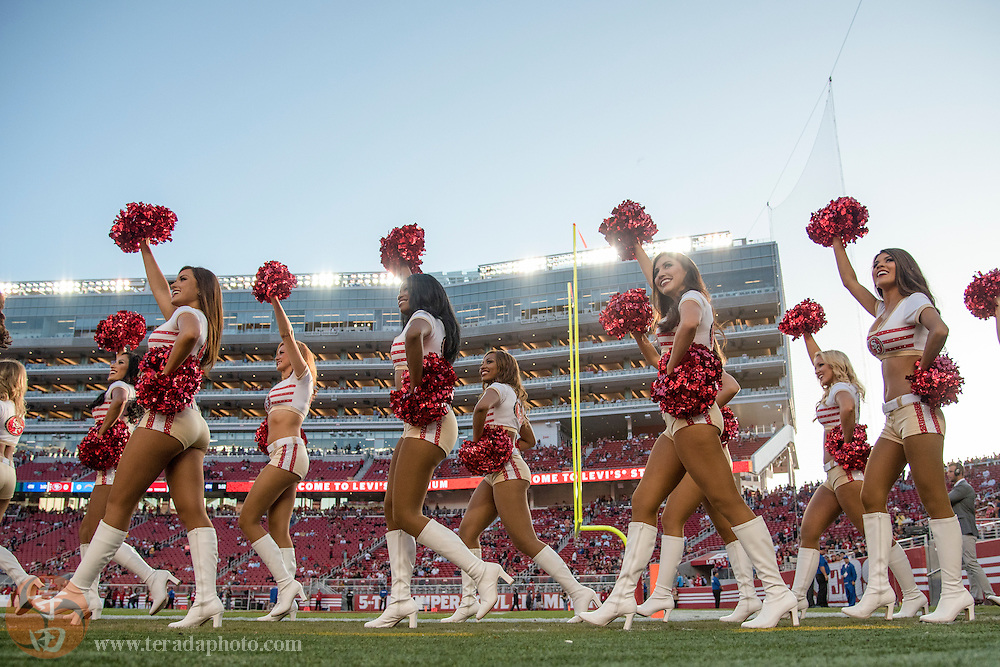 September 3, 2015; Santa Clara, CA, USA; San Francisco 49ers Gold Rush cheerleaders (L-R) Silvana, Jennifer, Kaleigh, Hawa, Bria Chantel, Kiirsta, Kirsten, and Natalie perform before a preseason game against the San Diego Chargers at Levi's Stadium. The 49ers defeated the Chargers 14-12.