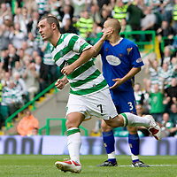 Celtic v St Johnstone...22.08.09 <br /> Scott McDonald wheels away after making it 5-1<br /> Picture by Graeme Hart.<br /> Copyright Perthshire Picture Agency<br /> Tel: 01738 623350  Mobile: 07990 594431
