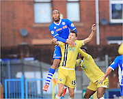 Calvin Andrew, Sid Nelson during the Sky Bet League 1 match between Rochdale and Millwall at Spotland, Rochdale, England on 13 February 2016. Photo by Daniel Youngs.