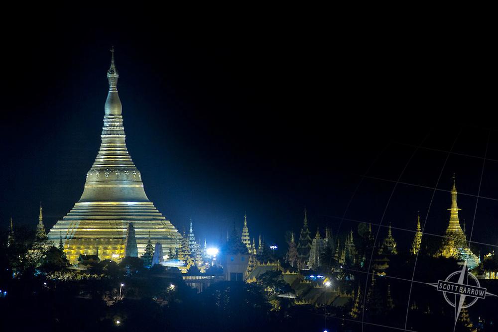 Shwedagon Pagoda in Yangon Myanmar.