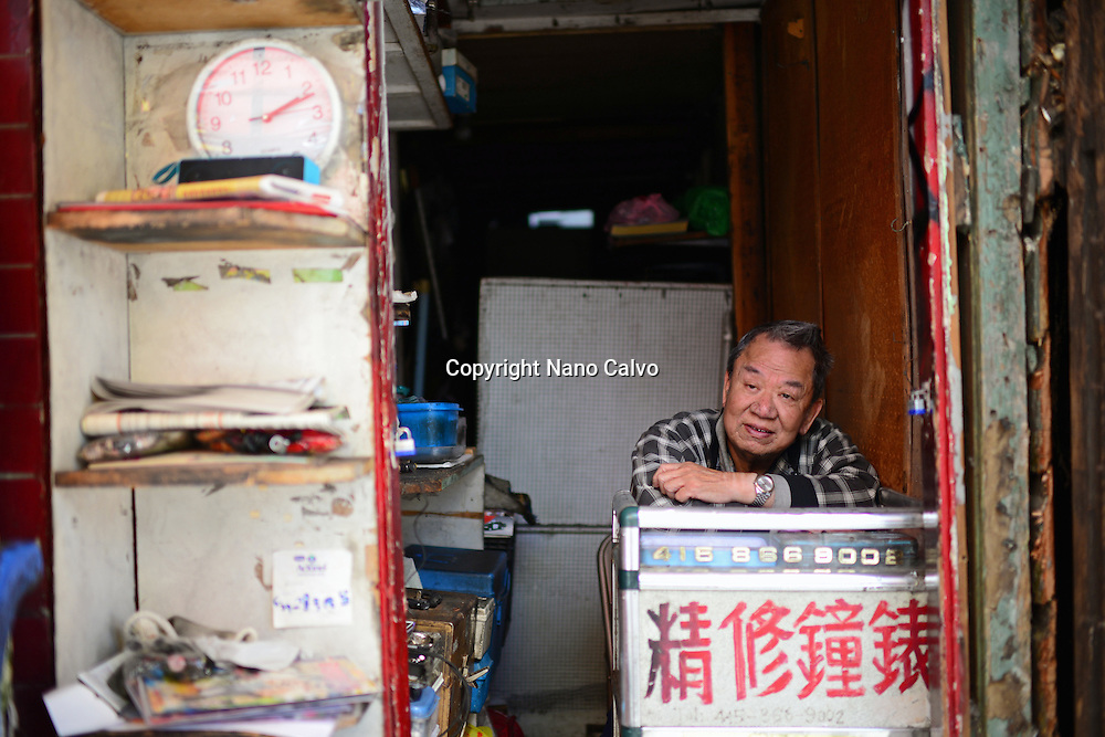 Portrait of shop tender in Chinatown, San Francisco.