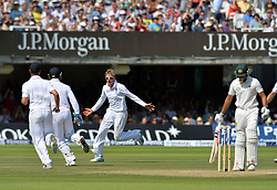 © Licensed to London News Pictures. 21/07/2013. Joe Root celebrates taking the wicket of Khawaja, caught Anderson. on day 4 of the Second Test England v Australia The Ashes Lord's Cricket Ground, London on July 21, 2013. England won the match taking a 2 - 0 lead in the series. Photo credit: Mike King/LNP