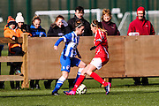Cardiff's Kayleigh Green and Brighton's Charlotte Owen during the FA Women's Premier League match between Brighton Ladies and Cardiff City Ladies at Brighton's Training Ground, Lancing, United Kingdom on 22 March 2015. Photo by Geoff Penn.