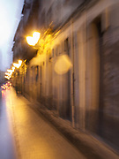 On a rainy night in Logrono, the street lights and movement caused a blur of colour in this long exposure.