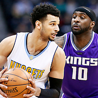06 March 2017: Denver Nuggets guard Jamal Murray (27) drives past Sacramento Kings guard Ty Lawson (10) during the Denver Nuggets 108-96 victory over the Sacramento Kings, at the Pepsi Center, Denver, Colorado, USA.