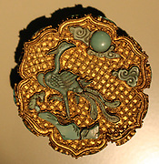 Gold box with phoenix and emblems of eight Taoist Immortals. China, 18th century (1701 - 1800) gold filigree, inset with turquoises
