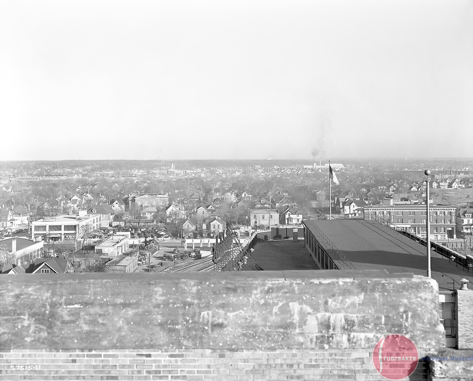 This 1941 image faces east from Studebaker Building #84. The flagpoles are on the roof Studebaker's Administration Building.