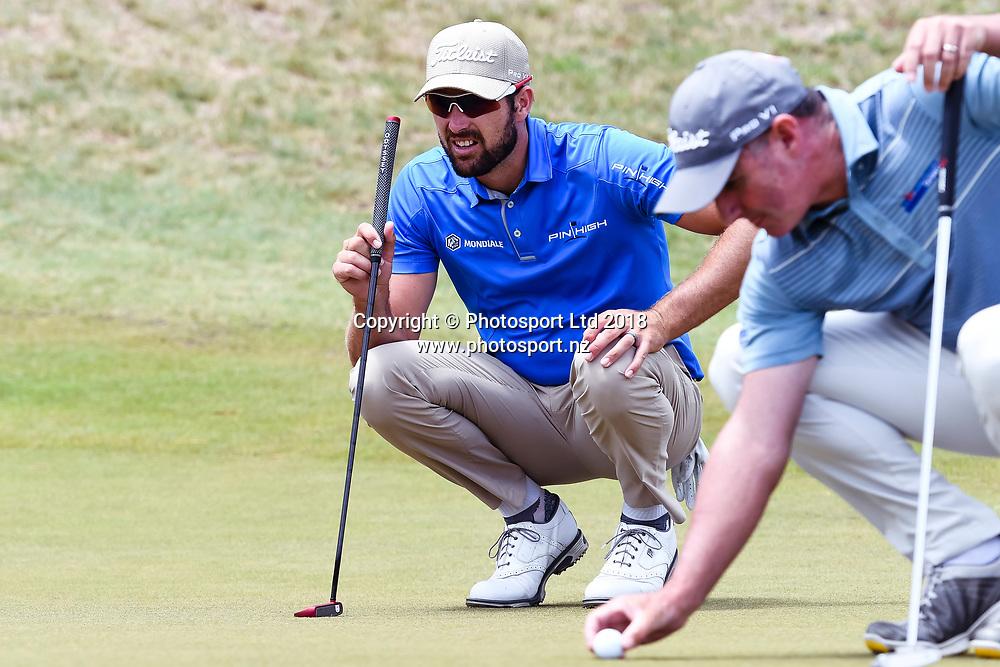 Daniel Pearce (NZL) (left).<br /> NZ Rebel Sports Masters, Wainui Golf Club, Wainui, Auckland, New Zealand. 14 January 2018. &copy; Copyright Image: Marc Shannon / www.photosport.nz.