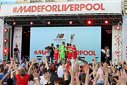LIVERPOOL, ENGLAND - Monday, May 9, 2016: Liverpool players take a GoPro selfie at the launch of the New Balance 2016/17 Liverpool FC kit at a live event in front of supporters at the Royal Liver Building on Liverpool's historic World Heritage waterfront. (Pic by David Rawcliffe/Propaganda)