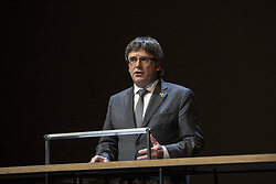 October 2, 2018 - Amsterdam, Netherlands - Carles Puigdemont during his speech. International Theater, Amsterdam. Netherlands. October 2, 2018  (Credit Image: © Nacho Calonge/NurPhoto/ZUMA Press)