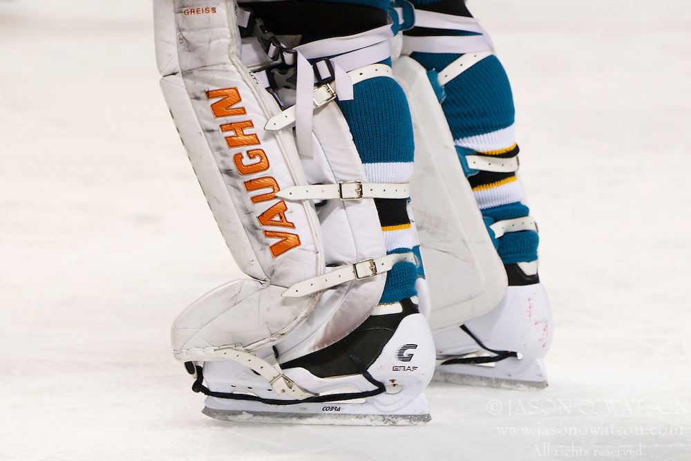 Dec 3, 2011; San Jose, CA, USA; Detailed view of the skates and pads belonging to San Jose Sharks goalie Thomas Greiss (1) during the second period against the Florida Panthers at HP Pavilion. Florida defeated San Jose 5-3. Mandatory Credit: Jason O. Watson-US PRESSWIRE