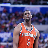 24 March 2014: Milwaukee Bucks forward Ekpe Udoh (5) rests during the Los Angeles Clippers 106-98 victory over the Milwaukee Bucks at the Staples Center, Los Angeles, California, USA.
