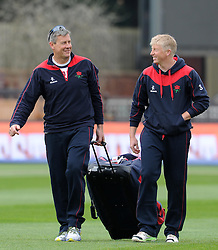 Lancashire's Head Coach Ashley Giles and Coach Glen Chapple share a joke. - Photo mandatory by-line: Harry Trump/JMP - Mobile: 07966 386802 - 07/04/15 - SPORT - CRICKET - Pre Season - Somerset v Lancashire - Day 1 - The County Ground, Taunton, England.