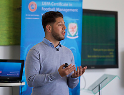 NEWPORT, WALES - Wednesday, April 25, 2018: xxxx gives a presentation during a UEFA Certificate in Football Management - Wales Edition at Dragon Park. (Pic by David Rawcliffe/Propaganda)