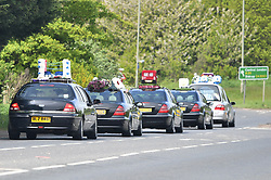 © Licensed to London News Pictures. 03/05/2018. Swanley, UK. The funeral procession of burglar Henry Vincent leaves Swanley to head to St Mary Cray, Bromley, London. Henry Vincent, who is part of a traveller community in the south east London, died during an attempted burglary of the home of pensioner Richard Osborn-Brook in Hither Green. Photo credit: London News Pictures