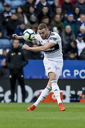 March 9, 2019 - Leicester, Leicestershire, United Kingdom - Calum Chambers of Fulham FC crosses the ball during the Premier League match between Leicester City and Fulham at the King Power Stadium, Leicester on Saturday 9th March 2019. (Credit Image: © Mi News/NurPhoto via ZUMA Press)