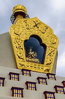 Buddhist Stupa with gold leaf crown and enclosed Buddha; Crestone, CO