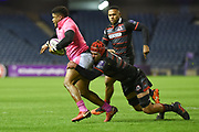 Jonathan Danty is tackled by Grant Gilchrist during the European Rugby Challenge Cup match between Edinburgh Rugby and Stade Francais at Murrayfield Stadium, Edinburgh, Scotland on 12 January 2018. Photo by Kevin Murray.