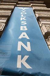 THEMENNBILD, Wien Österreich, Die Volksbank ist eine österreichische Bank mit Sitz in Wien. im Bild eine Fahne der Volksbank. //THEME IMAGE, FEATURE, The Volksbank is an Austrian bank with headquarters in Vienna. picture shows a flag of the Volksbank. EXPA Pictures © 2012, PhotoCredit: EXPA/ Sebastian Pucher