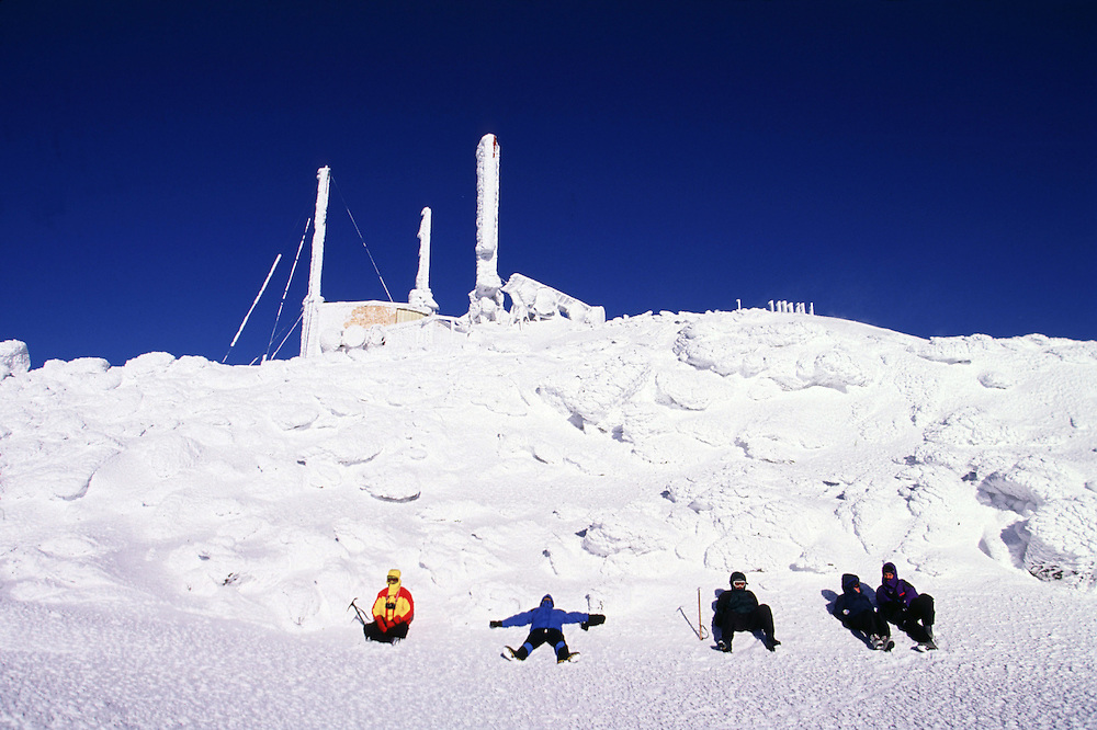 The Mount Washington weather observatory on the summit of Mt. Washington in the White Mountains of New Hampshire.