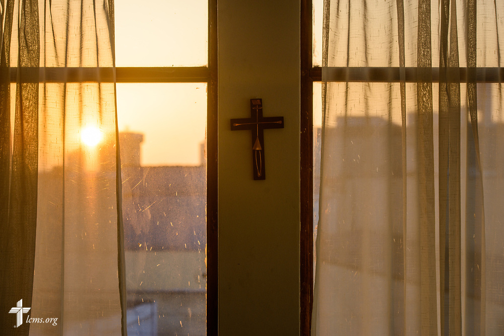 A cross hangs on the office wall at La Mision Luterana Del Peru on Sunday, Nov. 5, 2017, in Lima, Peru.  LCMS Communications/Erik M. Lunsford
