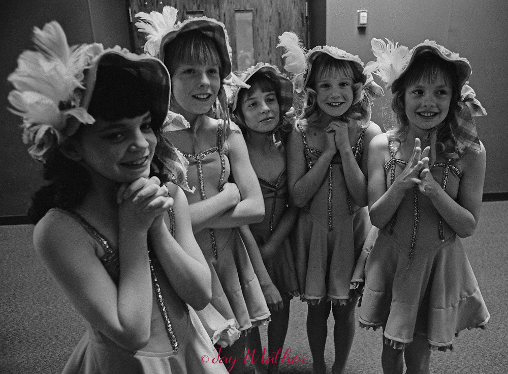 "A group of girls await the judging decisions after their performance in a ""Stars Of Tomorrow"" talent show in Arvada, CO. 1975"