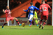 GOAL Ollie Rathbone scores for Rochdale 1-0 during the EFL Sky Bet League 1 match between Rochdale and Walsall at Spotland, Rochdale, England on 22 November 2016. Photo by Daniel Youngs.