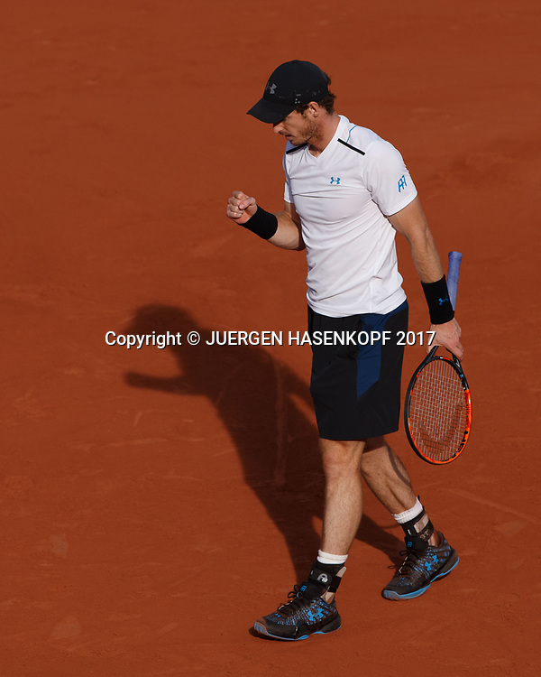 ANDY MURRAY (GBR) macht die Faust und jubelt,Jubel, Emotion,<br /> <br /> Tennis - French Open 2017 - Grand Slam / ATP / WTA / ITF -  Roland Garros - Paris -  - France  - 7 June 2017.