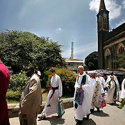 Presiding Bishop Katharine Jefferts Schori of the American Episcopal Church and the first woman elected primate in the Anglican Communion, walks with fellow primates following services in the Anglican cathedral of Zanzibar. Leaders of the world's 77 million Anglicans, in Tanzania for a closed, six-day conference, traveled by boat from the mainland to celebrate the Eucharist in the only Anglican cathedral on this predominantly Muslim archipelago on the Indian Ocean.....