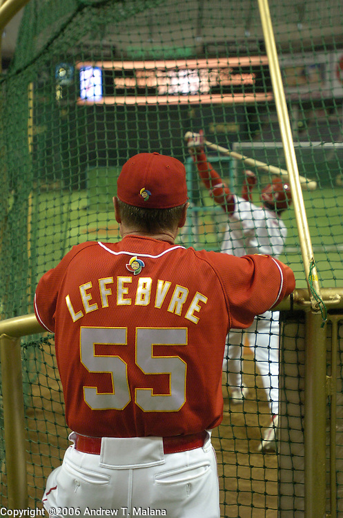 Team China manager Jim Lefebvre watches batting practice before the start of Game 3 of the World Baseball Classic against Team Korea at Tokyo Dome, Tokyo, Japan.