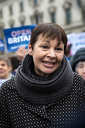 © Licensed to London News Pictures. 13/12/2017. London, UK. Caroline Lucas MP at a rally in support of Amendment 7 to the EU Withdrawal Bill. Photo credit: Rob Pinney/LNP