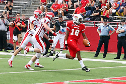 01 September 2012: Phil Dudley steps into the north end zone for a touch down  during an NCAA football game between the Dayton Flyers and the Illinois State Redbirds at Hancock Stadium in Normal IL