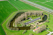 Nederland, Noord-Holland, Uitgeest, 20-04-2015; Fort aan den Ham, ten zuidwesten van Krommenie. Onderdeel van de Stelling van Amsterdam. Gebouwd in verband met de aanleg spoorlijn Amsterdam &ndash; Alkmaar.<br /> Fort aan den Ham, part of 19th century Defense line of Amsterdam<br /> luchtfoto (toeslag op standard tarieven);<br /> aerial photo (additional fee required);<br /> copyright foto/photo Siebe Swart