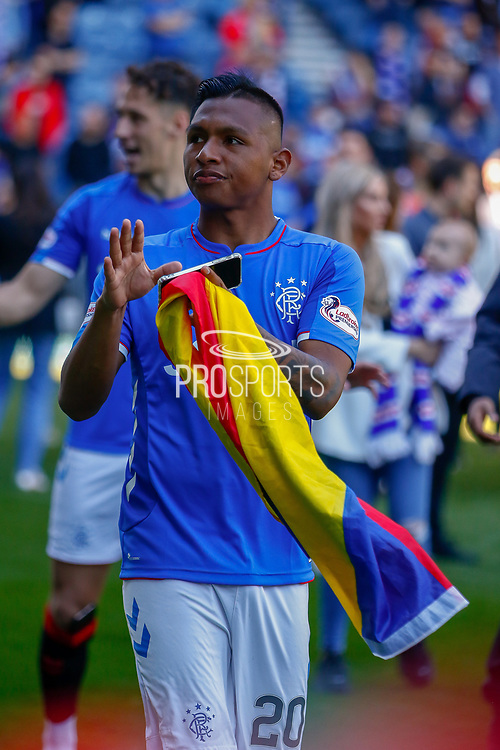 Alfredo Morelos of Rangers FC during the Ladbrokes Scottish Premiership match between Rangers and Celtic at Ibrox, Glasgow, Scotland on 12 May 2019.