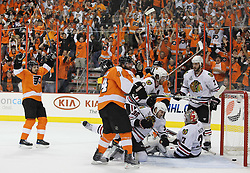 June 9, 2010; Philiadelphia, PA; USA;  Philadelphia Flyers left wing Scott Hartnell (19) tips the puck past Chicago Blackhawks goalie Antti Niemi (31) during the first period of Game 6 of the Stanley Cup Finals at the Wachovia Center.