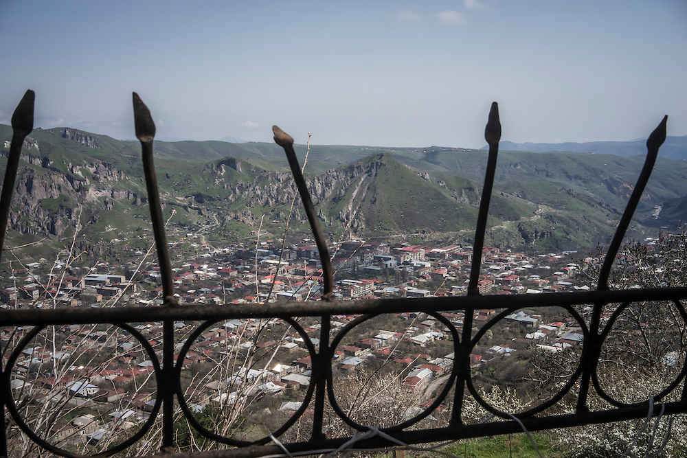GORIS, ARMENIA - APRIL 17: A view of the city of Goris on February 21, 2015 in Goris, Armenia. Since signing a ceasefire in a war with Azerbaijan in 1994, nearby Nagorno-Karabakh has functioned as a de facto part of Armenia, with hostilities along the line of contact between Nagorno-Karabakh and Azerbaijan occasionally flaring up and causing casualties. (Photo by Brendan Hoffman/Getty Images) *** Local Caption ***
