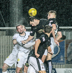 Falkirk's David McCracken and Falkirk's Peter Grant. <br /> Falkirk 1 v 0 Dumbarton, Scottish Championship game played 26/12/2015 at The Falkirk Stadium.
