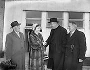 16/02/1959<br /> 02/16/1959<br /> 16 February 1959<br /> Rev. Fr. Patrick Peyton arriving at Dublin Airport. Fr. Peyton is greeted by his sister, Mrs S. Owens, Rathkenny, Co. Meath. Also in picture are: Captain G. Madden, Sales Department Aer Lingus (left) and Mr. S. Owens (right).