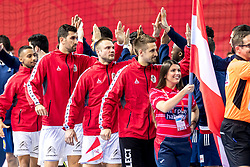 12.05.2017, Zatika Sport Centre, Porec, CRO, EHF EM, Herren, Österreich vs Frankreich, Gruppe B, im Bild v.l. Julian Ranftl (AUT), Janko Bozovic (AUT), Vytautas Ziura (AUT), Thomas Bauer (AUT) // during the preliminary round, group B match of the EHF men's Handball European Championship between Austria and France at the Zatika Sport Centre in Porec, Croatia on 2017/05/12. EXPA Pictures © 2018, PhotoCredit: EXPA/ Sebastian Pucher