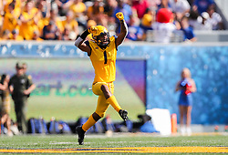 Oct 6, 2018; Morgantown, WV, USA; West Virginia Mountaineers cornerback Derrek Pitts Jr. (1) celebrates after a tackle during the third quarter against the Kansas Jayhawks at Mountaineer Field at Milan Puskar Stadium. Mandatory Credit: Ben Queen-USA TODAY Sports