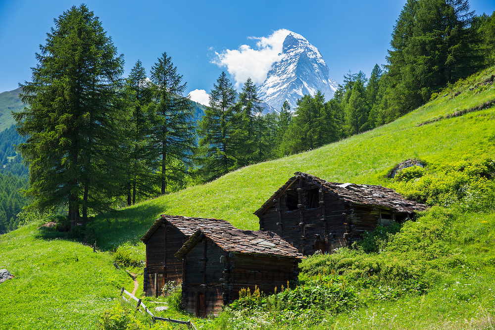 Chalet barns below the Matterhorn mountain in the Swiss Alps near Zermatt, Switzerland