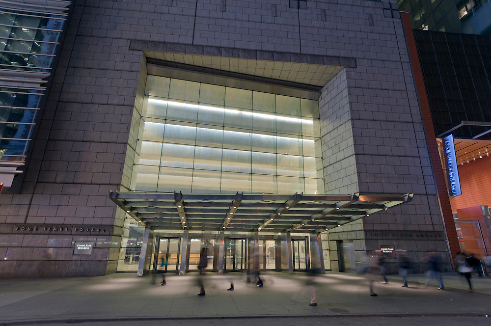 Entrance, Conde Nast Building, designed by Fox & Fowle Architects, Times Square, New York, New York, Post-Modernism