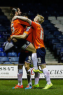 Luke Rooney of Luton Town (left) celebrates scoring the opening goal against Bury during the The FA Cup match at Kenilworth Road, Luton<br /> Picture by David Horn/Focus Images Ltd +44 7545 970036<br /> 16/12/2014