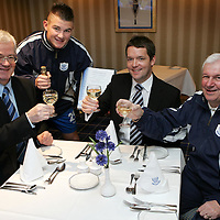 Graeme Christie (centre) of Clark Thomson Insurance Brokers joins with from left, Stewart Duff, Willie Dyer and Tommy Campbell after agreeing to sponsor the St Johnstone FC Sportsman's Dinner, which raises funds for the youth development.<br />Picture by Graeme Hart.<br />Copyright Perthshire Picture Agency<br />Tel: 01738 623350  Mobile: 07990 594431