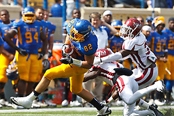 September 24, 2011; San Jose, CA, USA; San Jose State Spartans tight end Ryan Otten (82) catches a pass in front of New Mexico State Aggies defensive back Courtney Viney (7) and safety Donyae Coleman (3) during the second quarter at Spartan Stadium.