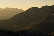 Sunrise light over Angora and Echo Peaks, Desolation Wilderness, El Dorado National Forest, California